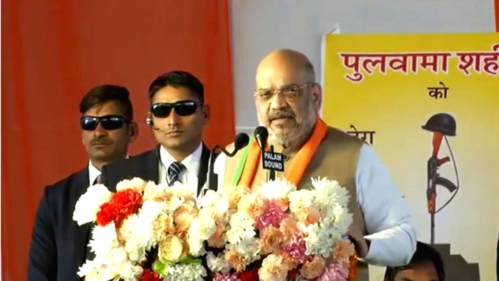 BJP chief Amit Shah addresses a party meeting in Jaipur, on Feb 18, 2019. - Amit Shah