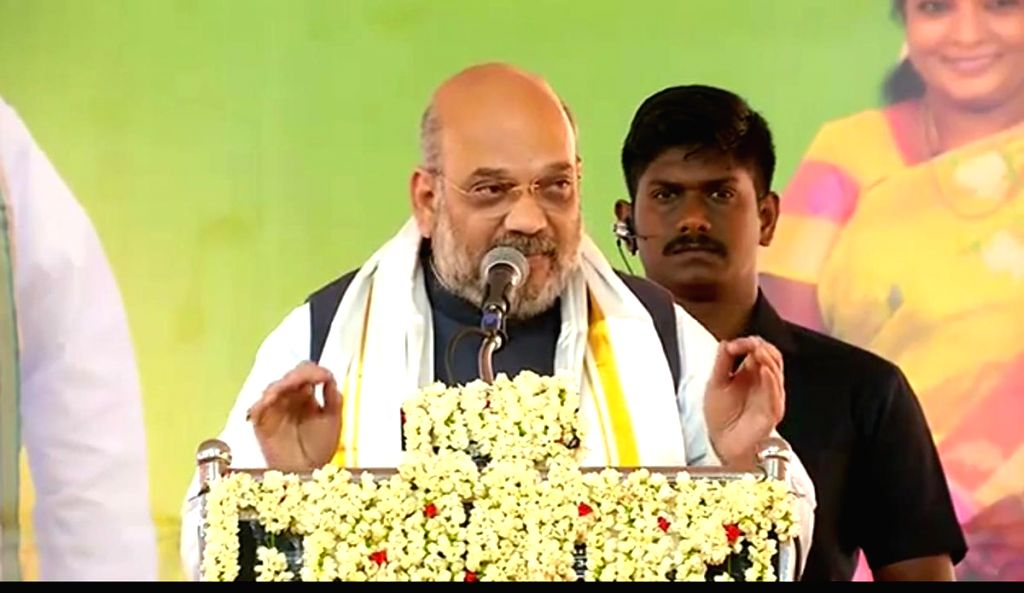BJP chief Amit Shah addresses a party meeting in Tamil Nadu's Ramanathapuram, on Feb 22, 2019. - Amit Shah