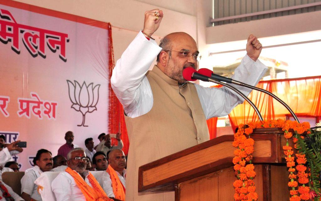 BJP Chief Amit Shah addresses a party rally in Barabanki of Uttar Pradesh on June 26, 2016. (Photo: IANS - Amit Shah