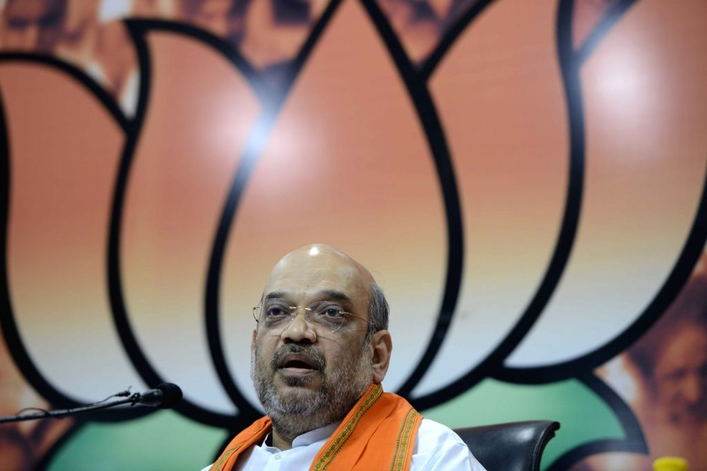 BJP chief Amit Shah addresses a press conference in New Delhi on Oct 7, 2016. - Amit Shah