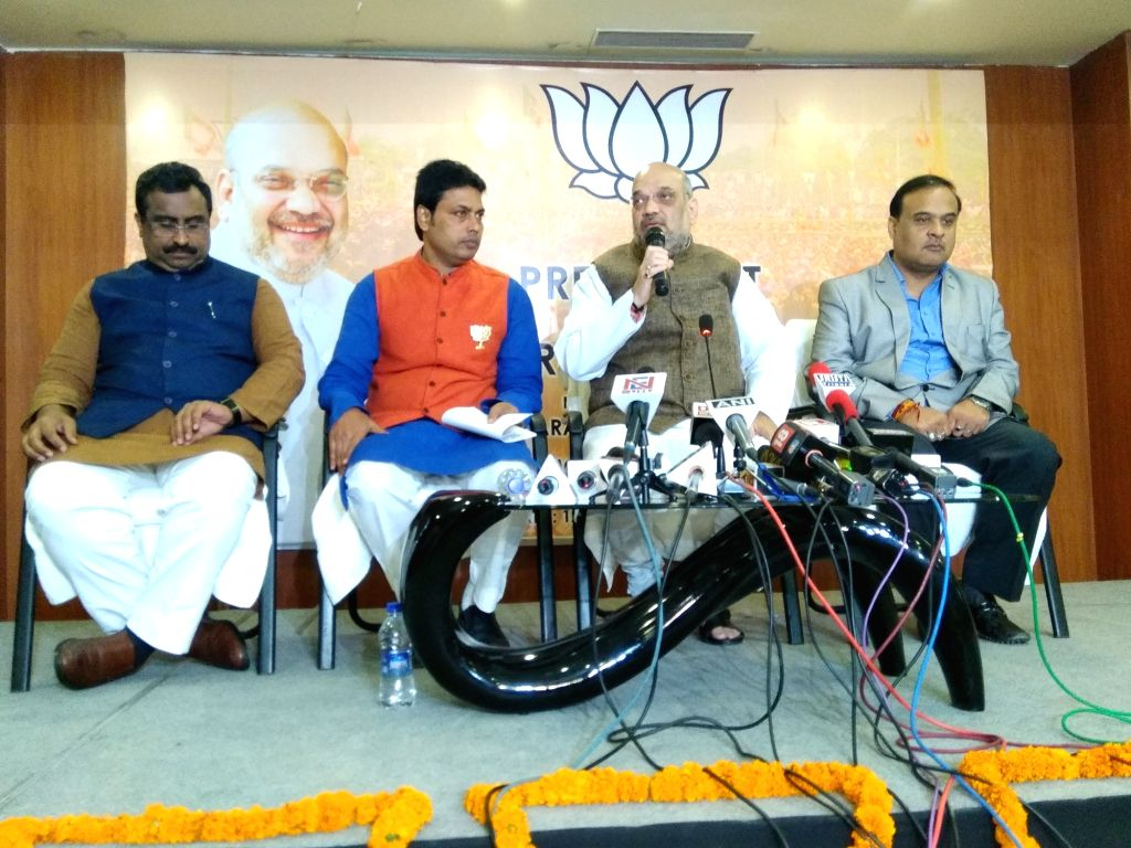 BJP chief Amit Shah addresses a press conference in Agartala on Feb 12, 2018. - Amit Shah