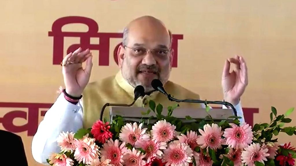 BJP chief Amit Shah addresses a public meeting in Jharkhand's Godda, on March 5, 2019. - Amit Shah