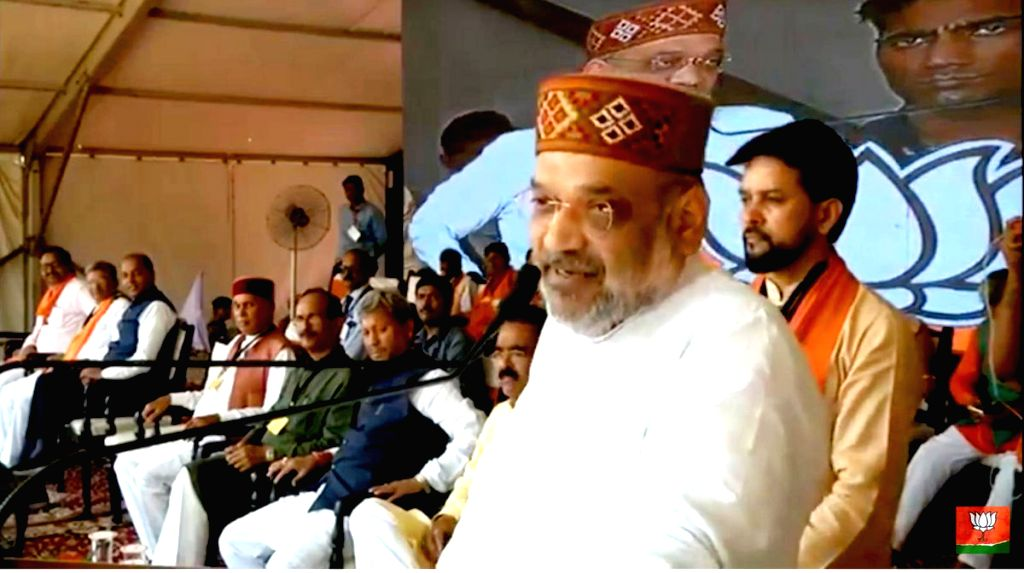 BJP chief Amit Shah addresses a public meeting in Bilaspur, Himachal Pradesh, on May 12, 2019. - Amit Shah