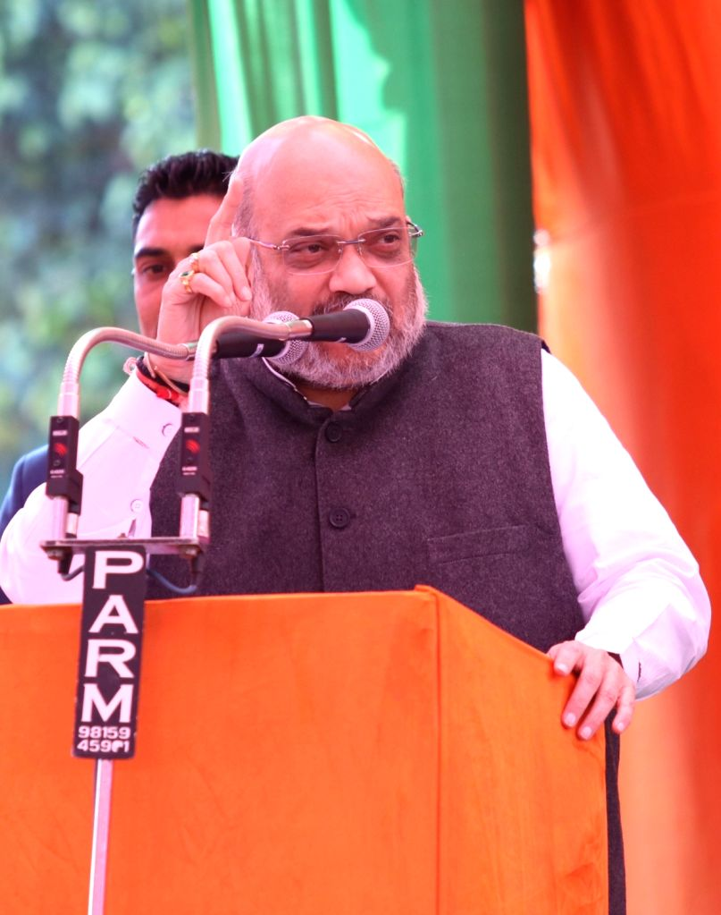BJP chief Amit Shah addresses a public rally in Amritsar, on Feb 24, 2019. - Amit Shah