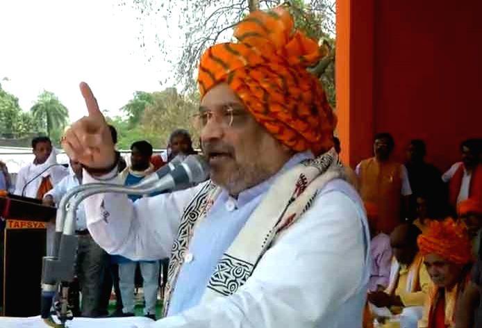 BJP chief Amit Shah addresses a public rally in Ghazipur, Uttar Pradesh, on April 25, 2019. - Amit Shah
