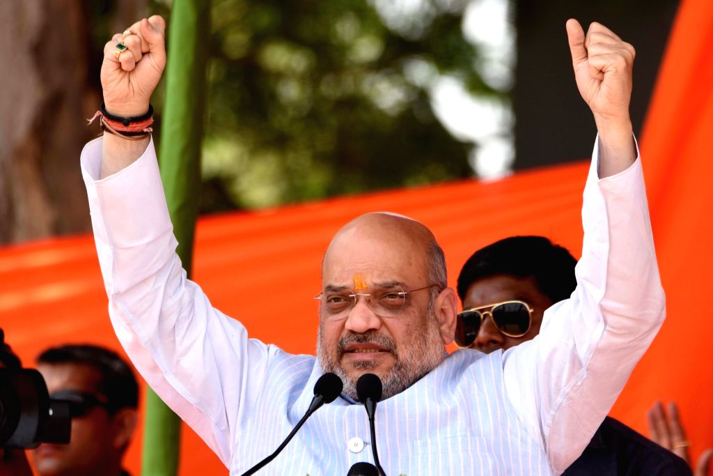 BJP chief Amit Shah addresses a public rally in Jharkhand's Palamu, on April 27, 2019. - Amit Shah