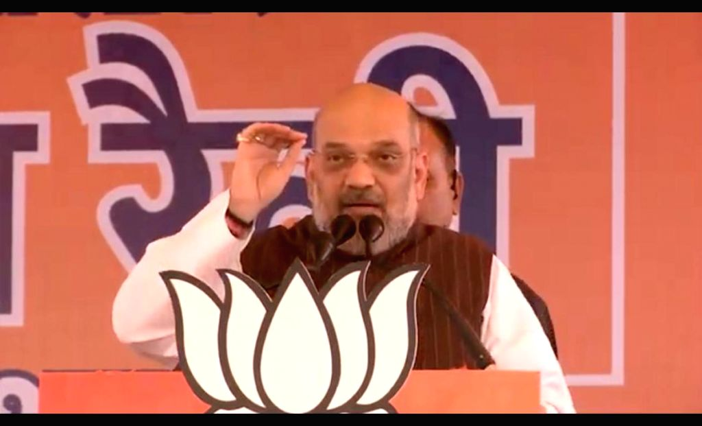 BJP chief Amit Shah addresses a public rally in Sonipat, Haryana, on May 5, 2019. - Amit Shah
