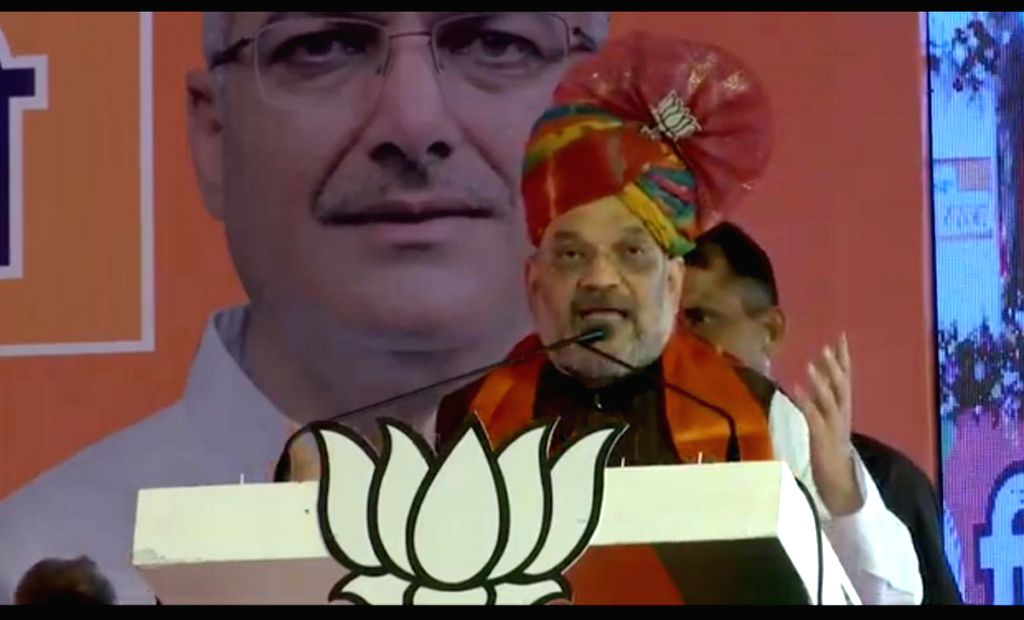 BJP chief Amit Shah addresses a public rally in Panipat, Haryana, on May 5, 2019. - Amit Shah