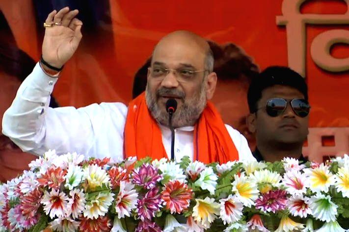 BJP chief Amit Shah addresses a public rally in Madhubani, Bihar on May 6, 2019. - Amit Shah