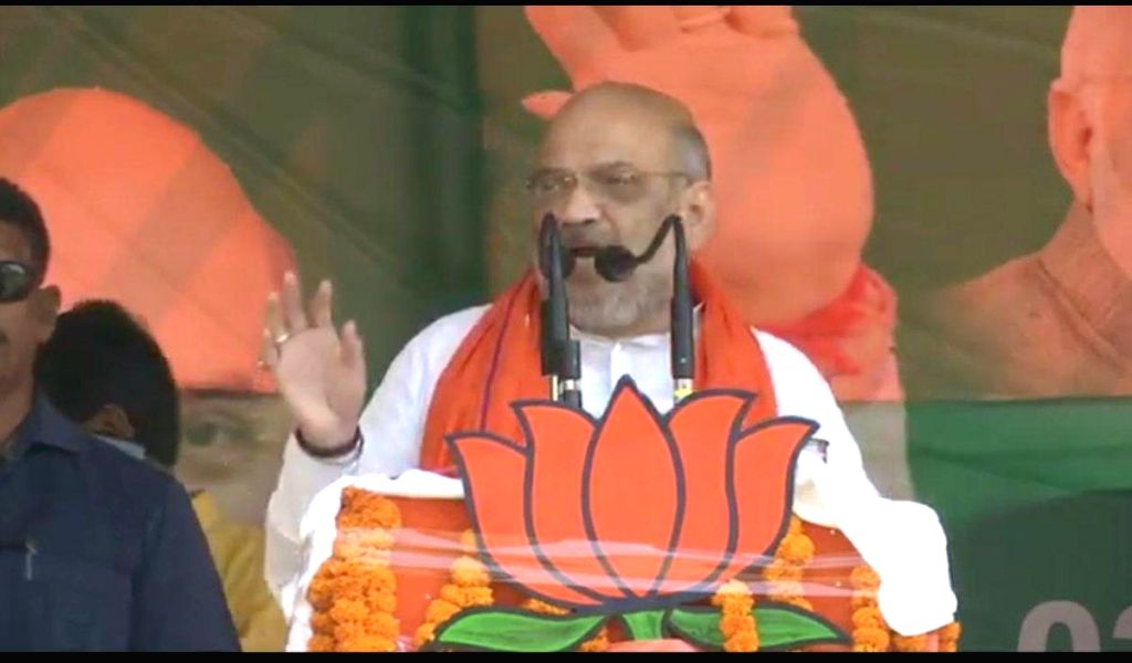 BJP chief Amit Shah addresses a public rally in Bettiah, Bihar, on May 6, 2019. - Amit Shah