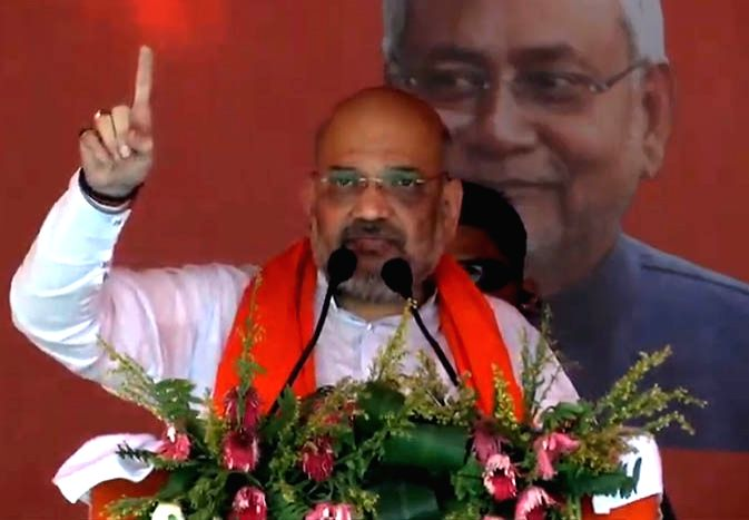 BJP chief Amit Shah addresses a public rally in Pipra, Bihar, on May 6, 2019. - Amit Shah