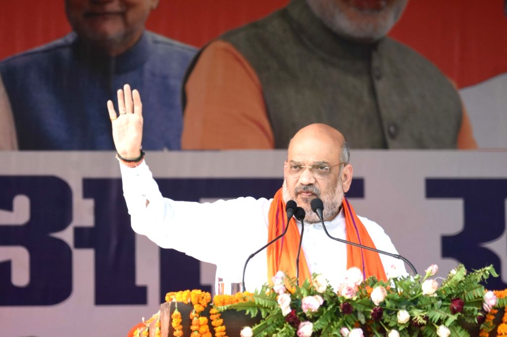 BJP chief Amit Shah addresses a public rally in Bihar's Siwan, on May 6, 2019. - Amit Shah
