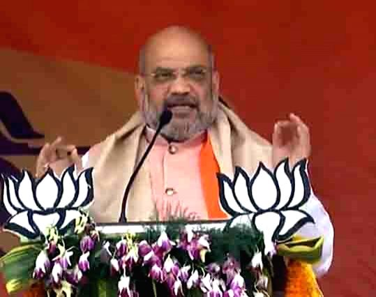 BJP chief Amit Shah addresses a public rally in Dhanbad, Jharkhand, on May 8, 2019. - Amit Shah