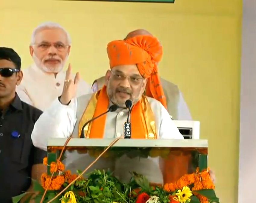 BJP chief Amit Shah addresses at the farmers' conference in Nagaur, Rajasthan on Sept 18, 2018. - Amit Shah