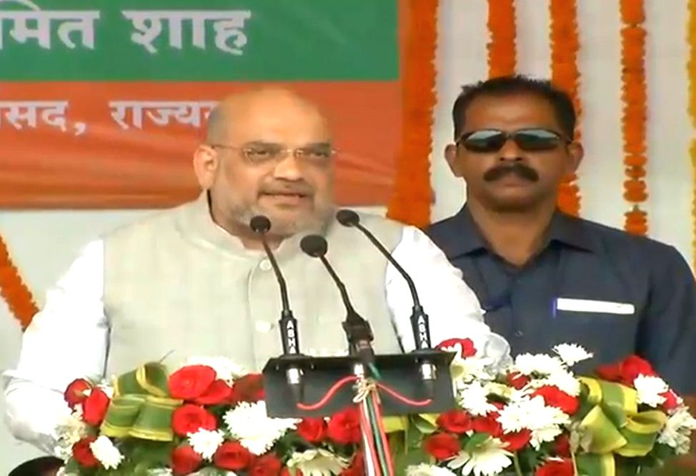 BJP chief Amit Shah addresses at the tribal conference in Kanker, Chhattisgarh, on Oct 5, 2018. - Amit Shah