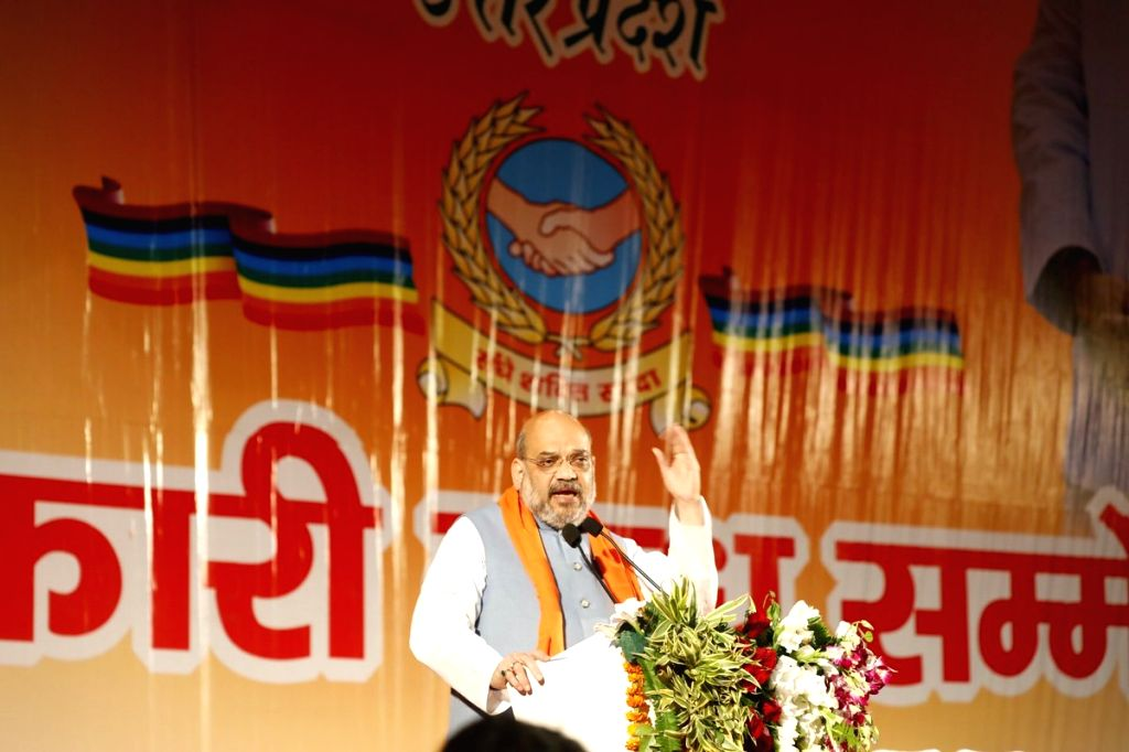BJP chief Amit Shah addresses during a BJP programme in Lucknow on Feb 23, 2019. - Amit Shah