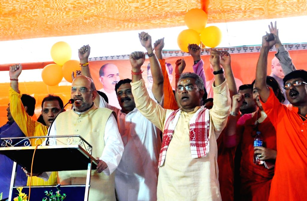 BJP chief Amit Shah addresses during a party program at Keshtopur in Kolkata on April 27, 2017. - Amit Shah
