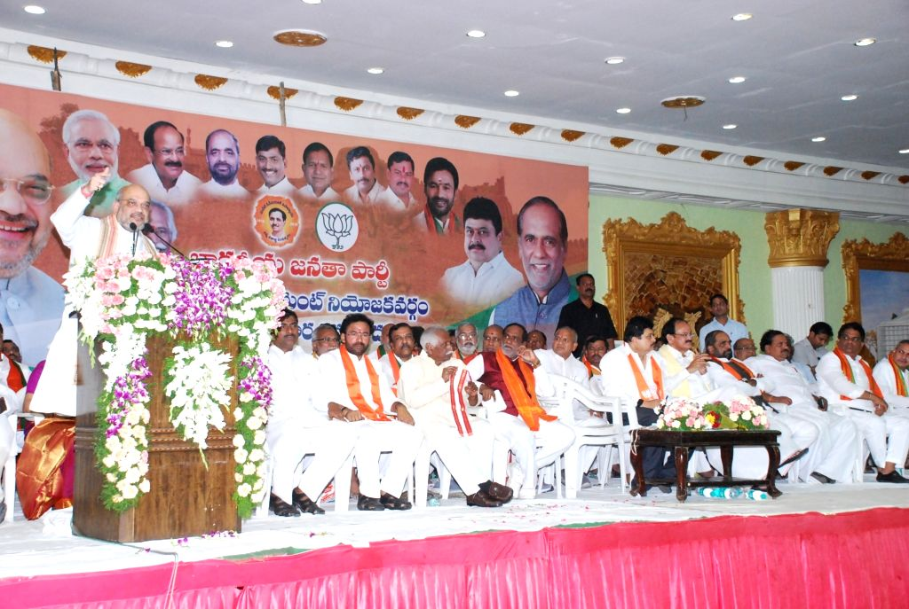 BJP chief Amit Shah addresses during a party meeting in Hyderabad on May 24, 2017. - Amit Shah