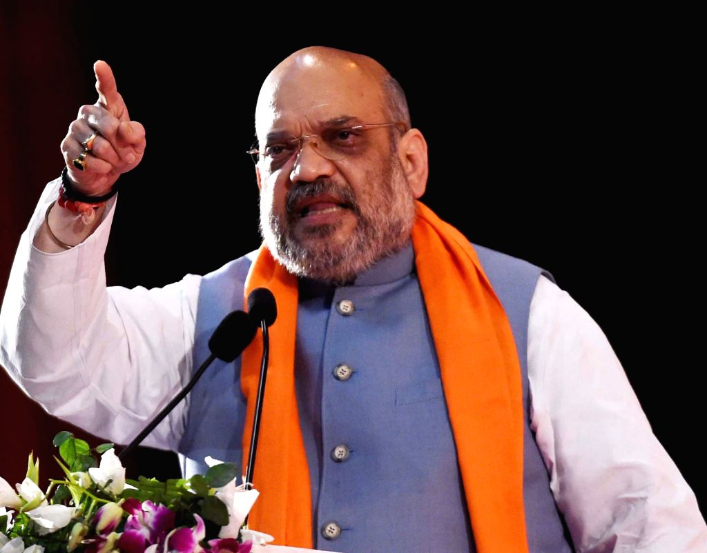BJP chief Amit Shah addresses during a party programme in Lucknow on Feb 23, 2019. - Amit Shah