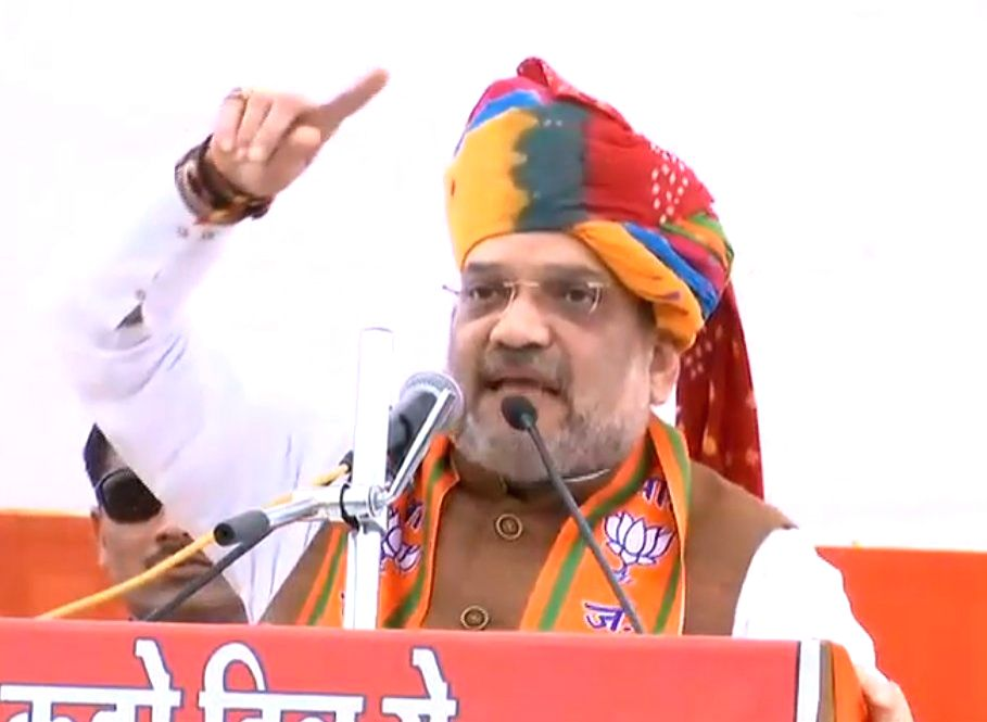 BJP chief Amit Shah addresses during a public meeting in Chittorgarh, Rajasthan, on Dec 3, 2018. - Amit Shah