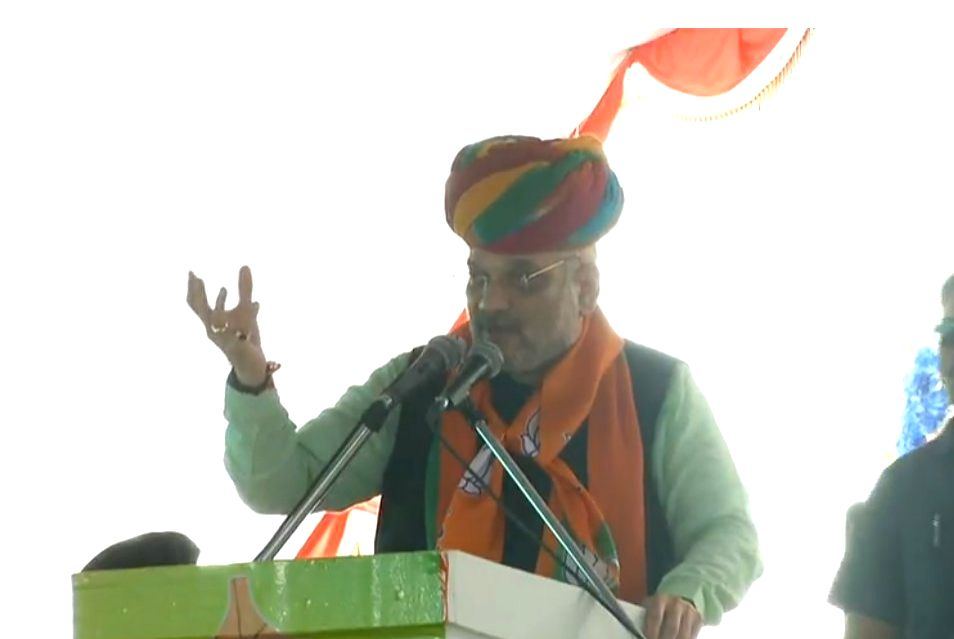 BJP chief Amit Shah addresses during 'OBC sammelan' in Pali, Rajasthan on Sept 16, 2018. - Amit Shah