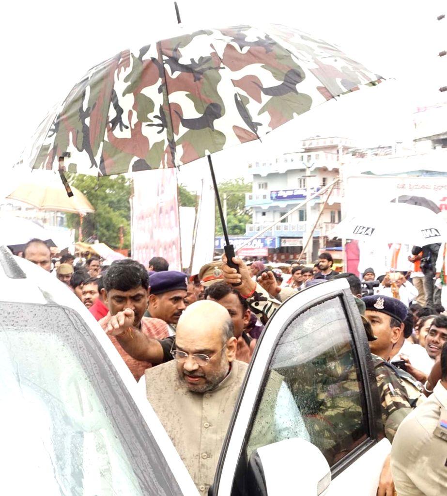 BJP chief Amit Shah arrives at Rajiv Gandhi International Airport in Hyderabad on Sept 17, 2016. - Amit Shah
