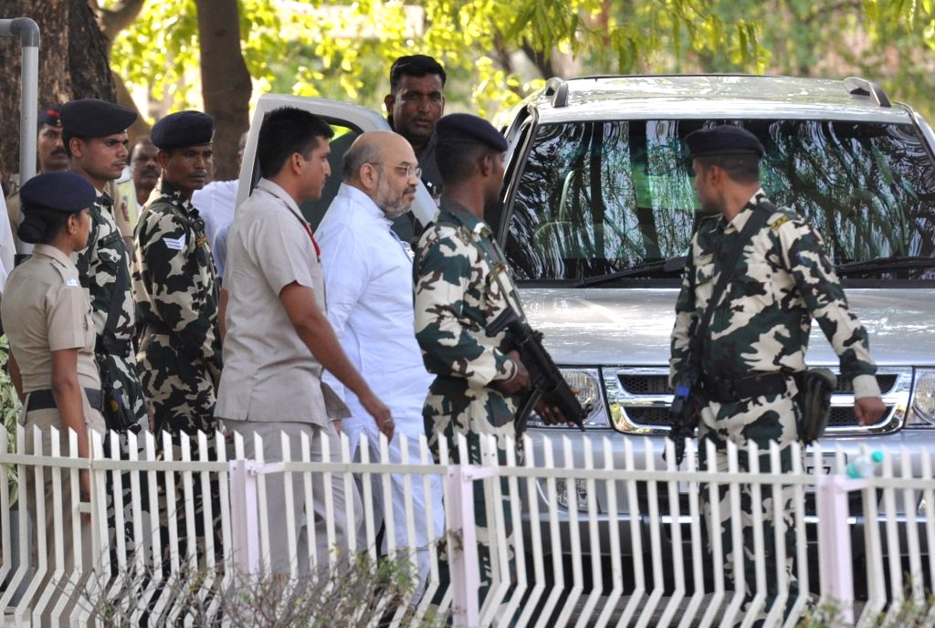 BJP chief Amit Shah arrives at RSS Headquarters in Nagpur, on May 29, 2017. - Amit Shah