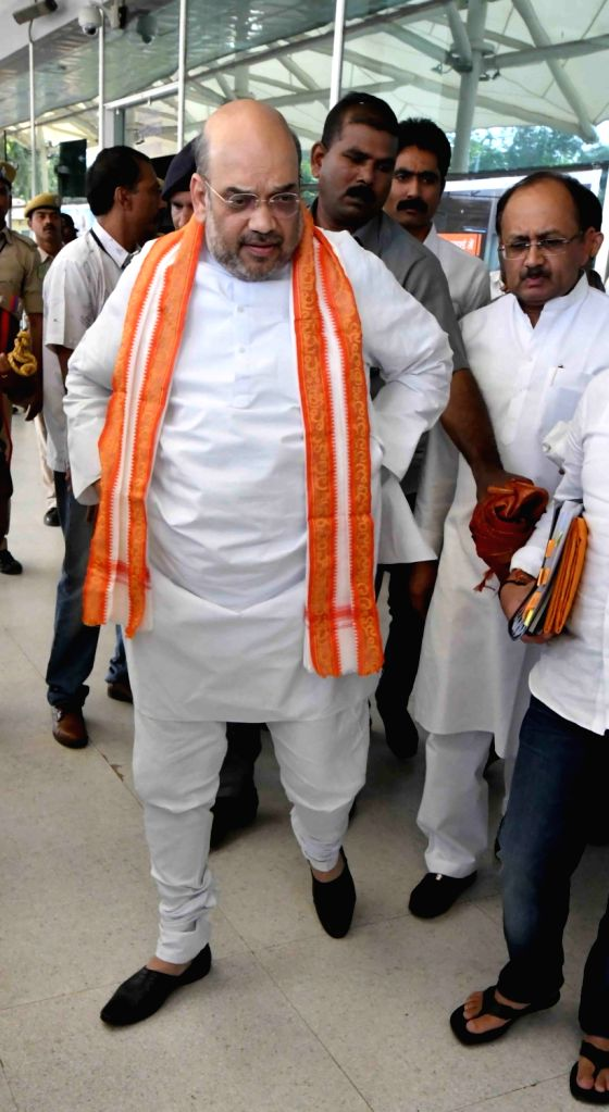 BJP chief Amit Shah arrives at Vijayawada Airport in Vijayawada, Andhra Pradesh on Nov 26, 2016. - Amit Shah