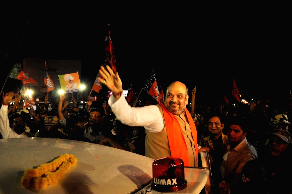 BJP chief Amit Shah arrives in Ranchi on Sept 7, 2014.