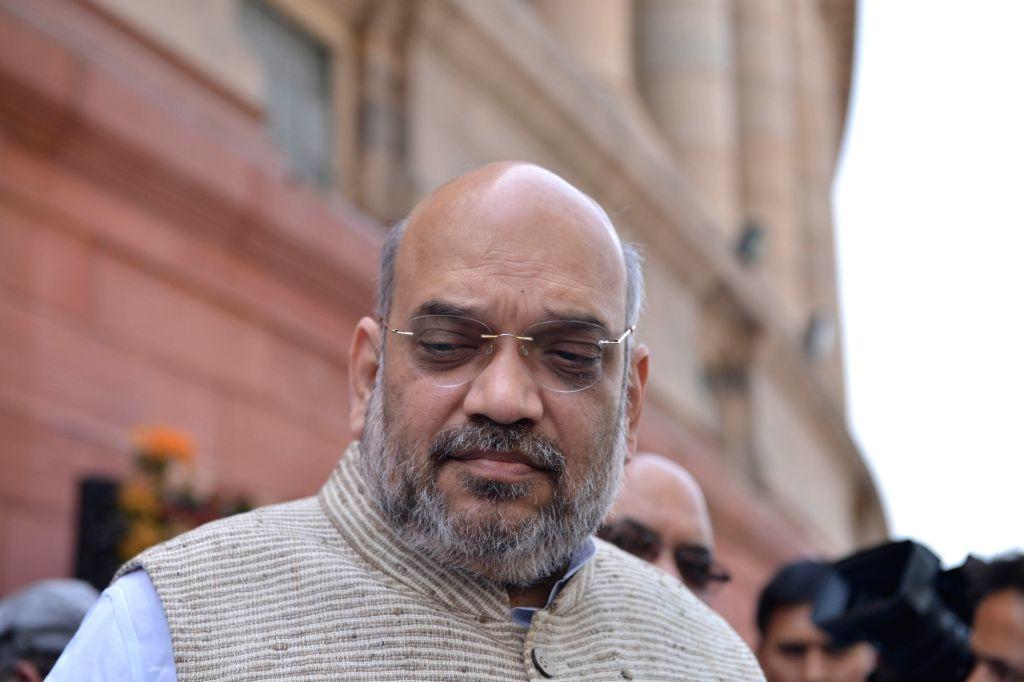 BJP chief Amit Shah at Parliament in New Delhi, on April 2, 2018. - Amit Shah