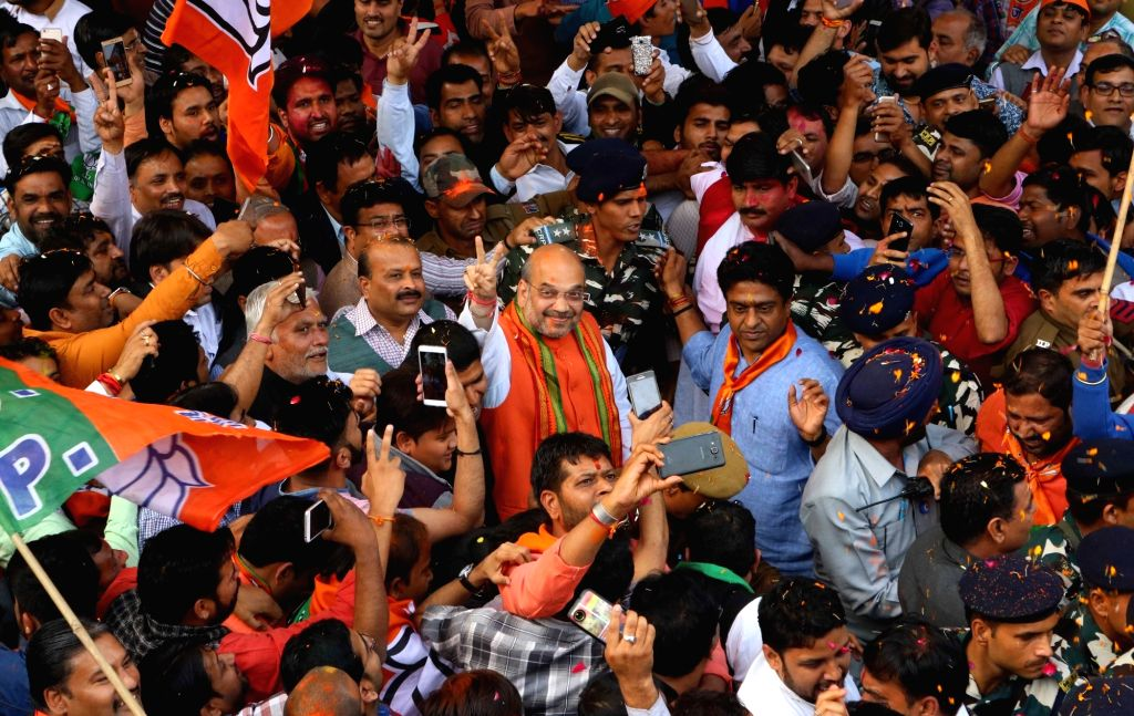 BJP chief Amit Shah celebrates party's performance in the assembly elections in New Delhi on March 11, 2017. - Amit Shah