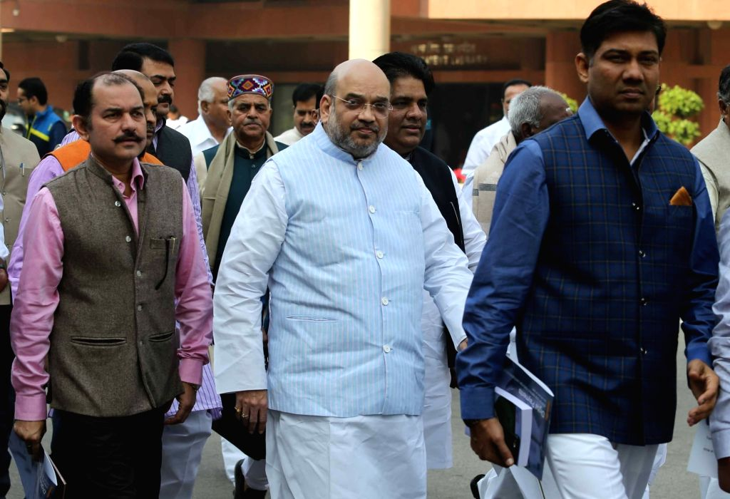 BJP chief Amit Shah comes out after BJP Parliamentary Party meeting at Parliament in New Delhi on Nov 29, 2016. - Amit Shah
