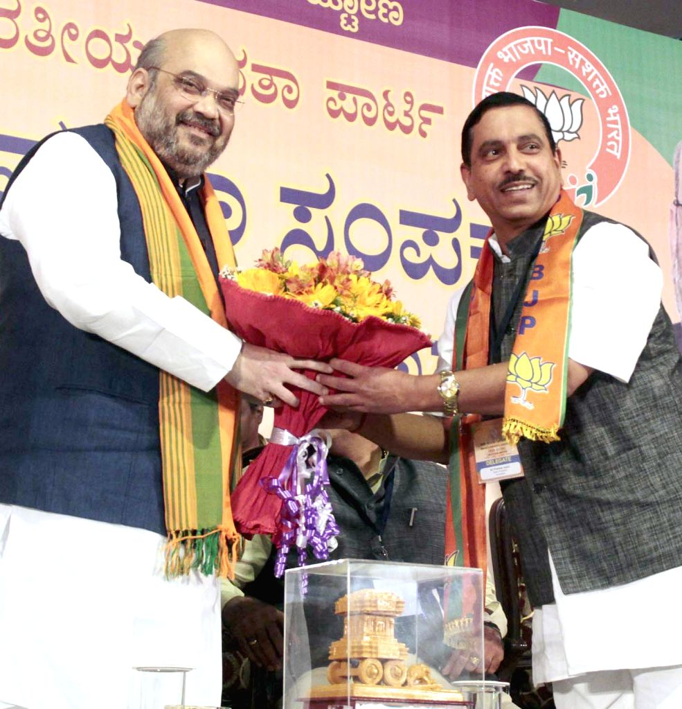 BJP chief Amit Shah during a BJP South Zone district presidents and office bearers meet in Bengaluru on July 5, 2015. - Amit Shah