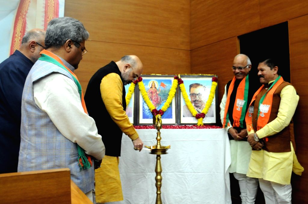 BJP chief Amit Shah during a party meeting in New Delhi on Dec 13, 2018. - Amit Shah