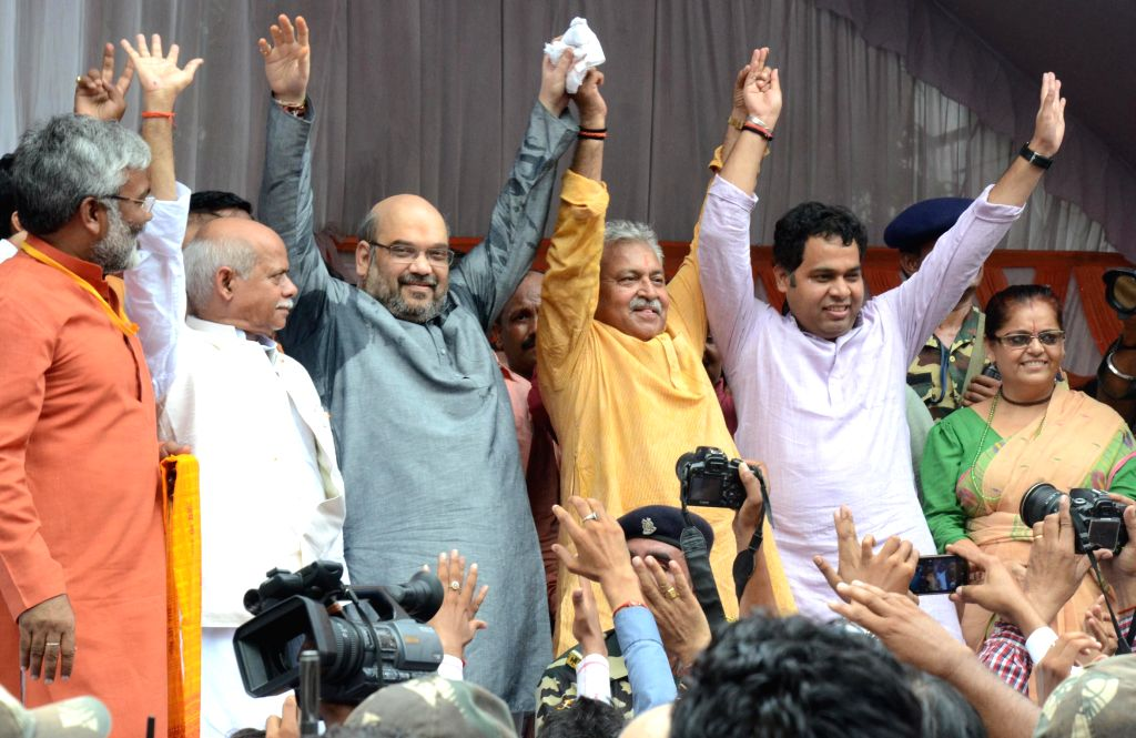 BJP chief Amit Shah during a party programme in Lucknow on Aug 19, 2014.