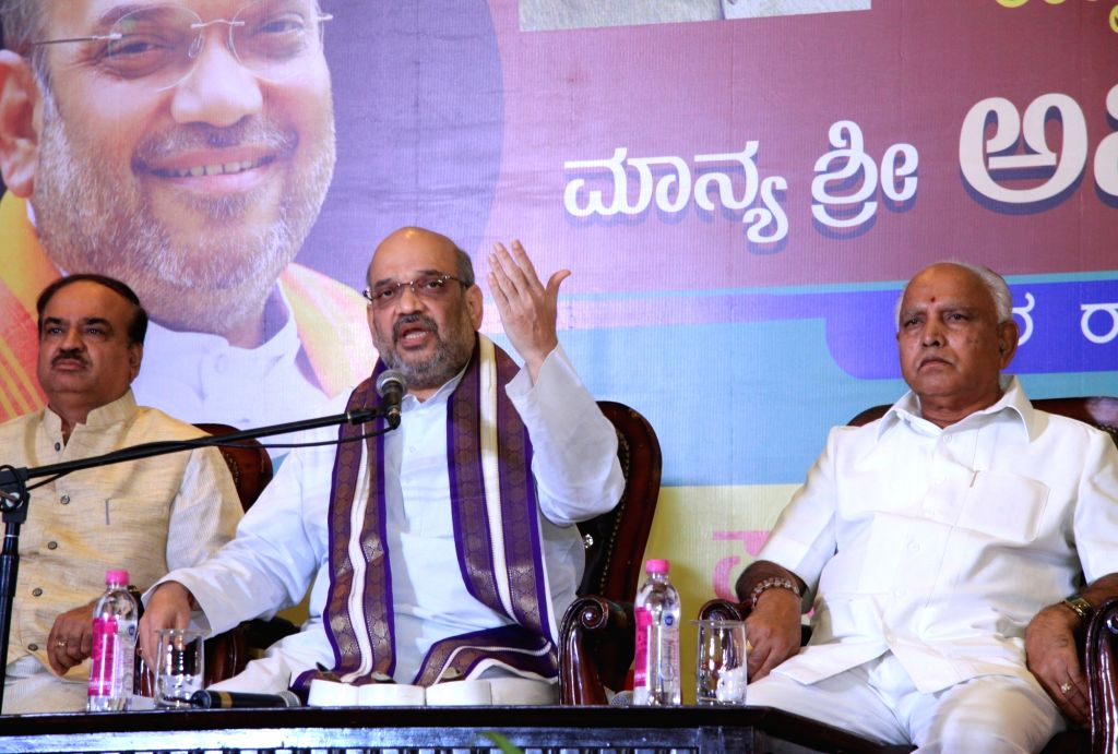 BJP chief Amit Shah during a press conference in Bengaluru on Aug 14, 2017. - Amit Shah