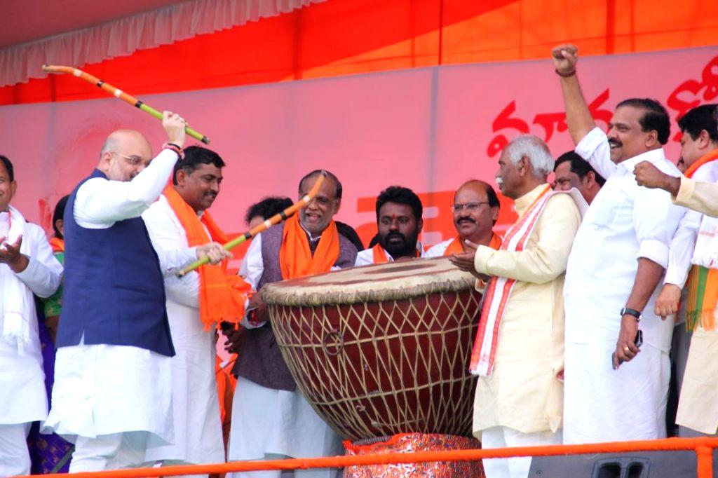 BJP chief Amit Shah during a public meeting at Telangana's Mahabubnagar district on Sept 15, 2018. - Amit Shah