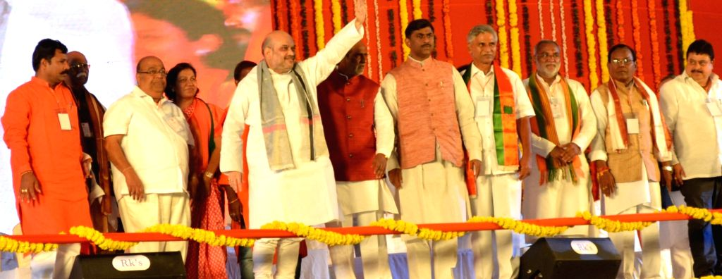 BJP chief Amit Shah during a public meeting at in Hanamkonda in Warangal district of Telangana on Sept 17, 2016. - Amit Shah