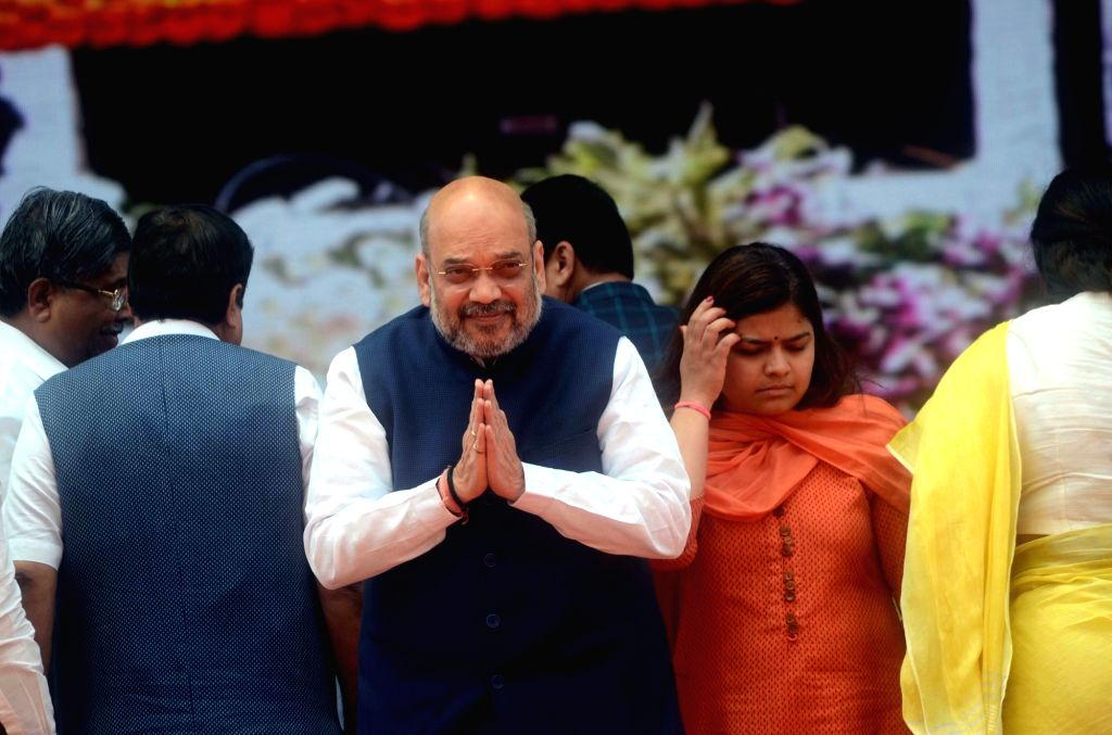 BJP chief Amit Shah during a rally organised to celebrate BJP's 38th Foundation Day in Mumbai on April 6, 2018. - Amit Shah