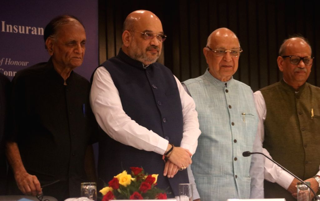 "BJP chief Amit Shah during National Conference on ""Reforming Agrarian Economy: Role of Insurance"", in New Delhi on July 21, 2018. - Amit Shah"
