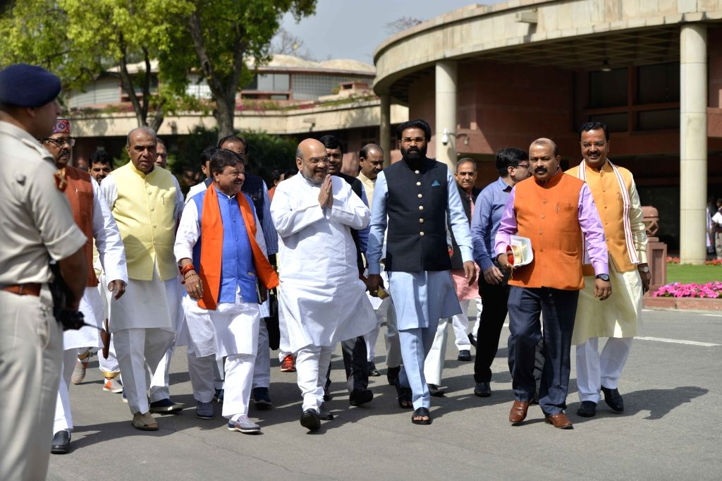 BJP chief Amit Shah leaves after attending the BJP Parliamentary party meeting at Parliament house library, in New Delhi on March 16, 2017. - Amit Shah