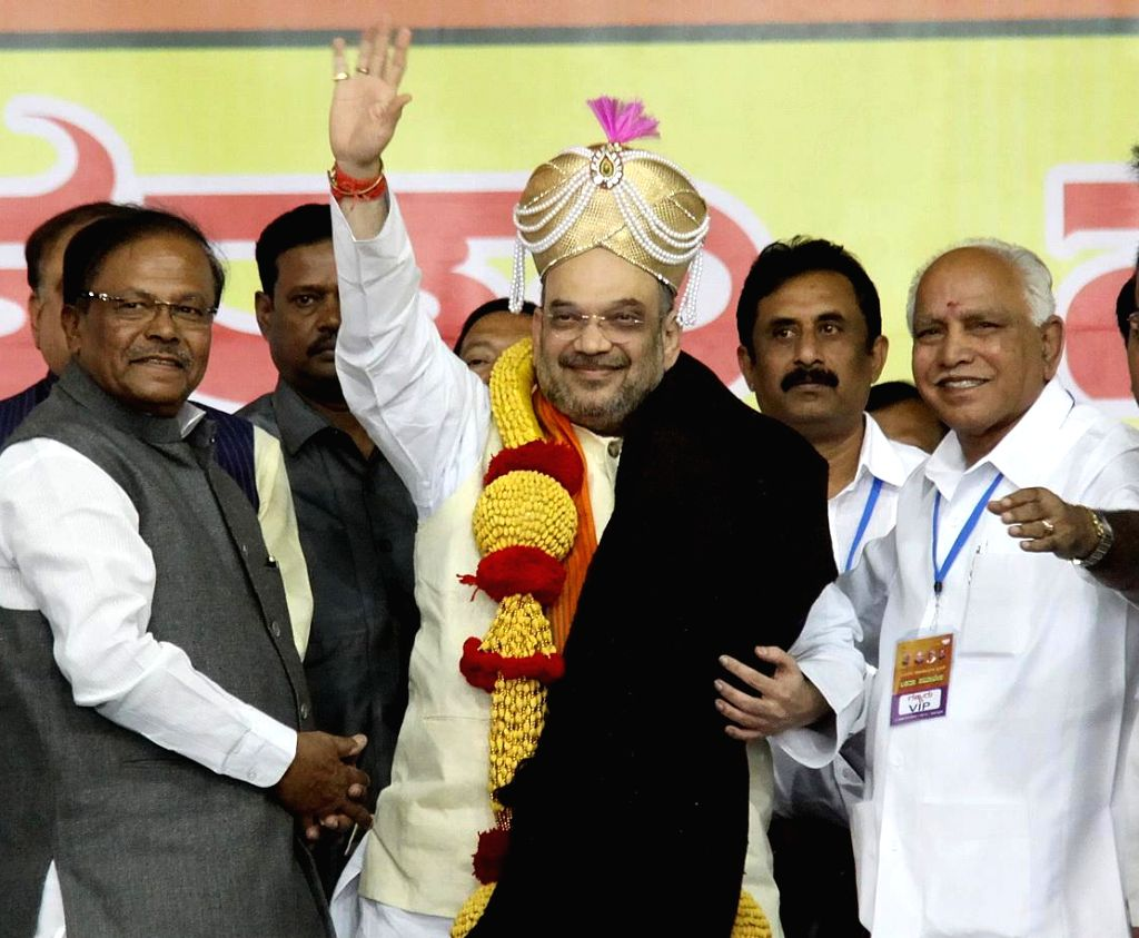 BJP chief Amit Shah with party leaders BS Yeddyurappa, Ananth Kumar, Sadananda Gowda and others during a party rally in Bengaluru, on Nov 27, 2016. - Amit Shah and Ananth Kumar