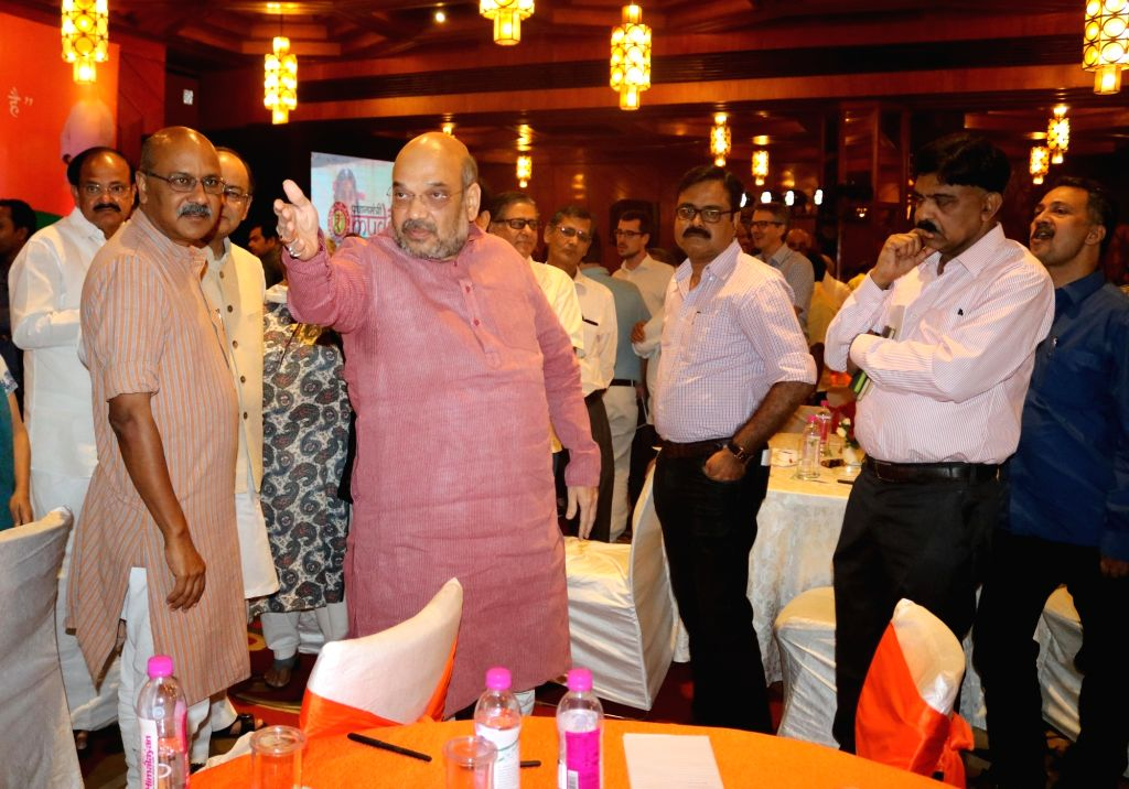 BJP chief Amit Shah with Union Ministers Arun Jaitley and M Venkaiah Naidu during a programme organised to interact with journalists regading the achievements of NDA government in last two ... - Ministers Arun Jaitley, M Venkaiah Naidu and Amit Shah