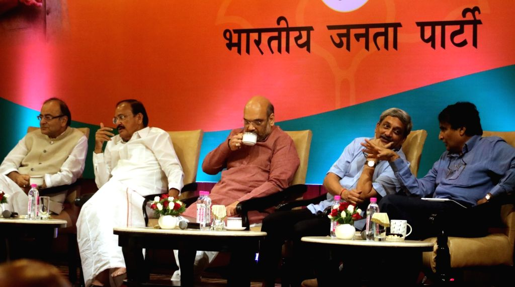 BJP chief Amit Shah with Union Ministers Arun Jaitley, Manohar Parrikar, Suresh Prabhu and M Venkaiah Naidu during a programme organised to interact with journalists regading the ... - Ministers Arun Jaitley, Manohar Parrikar, Suresh Prabhu, M Venkaiah Naidu and Amit Shah