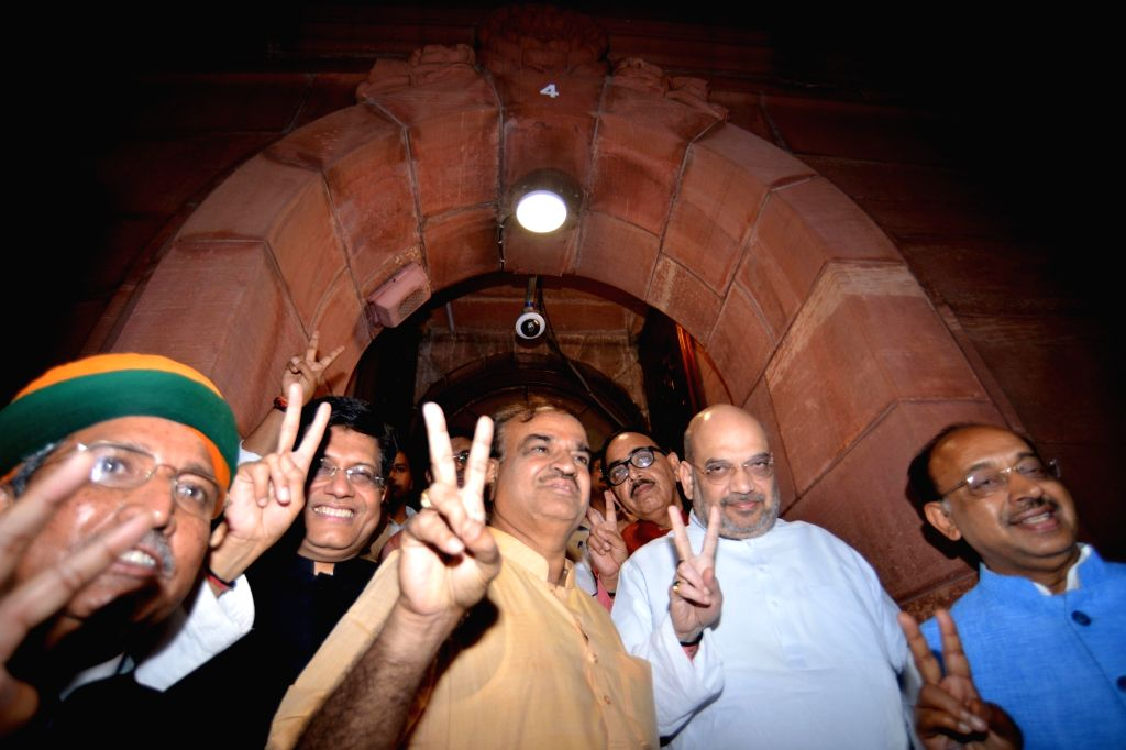 BJP chief Amit Shah with Union Ministers Piyush Goyal, Ananth Kumar and Arjun Ram Meghwal come out of Parliament after no-confidence motion against Modi government was defeated on July 21, ... - Piyush Goyal, Ananth Kumar, Arjun Ram Meghwal and Amit Shah