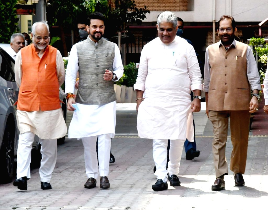 BJP Delegation comprising Bhupender Yadav, MA Naqvi, Anurag Thakur and Om Pathak meets Election Commission of India at Nirvachan Sadan in New Delhi on Tuesday, September 28, 2021. - Bhupender Yadav