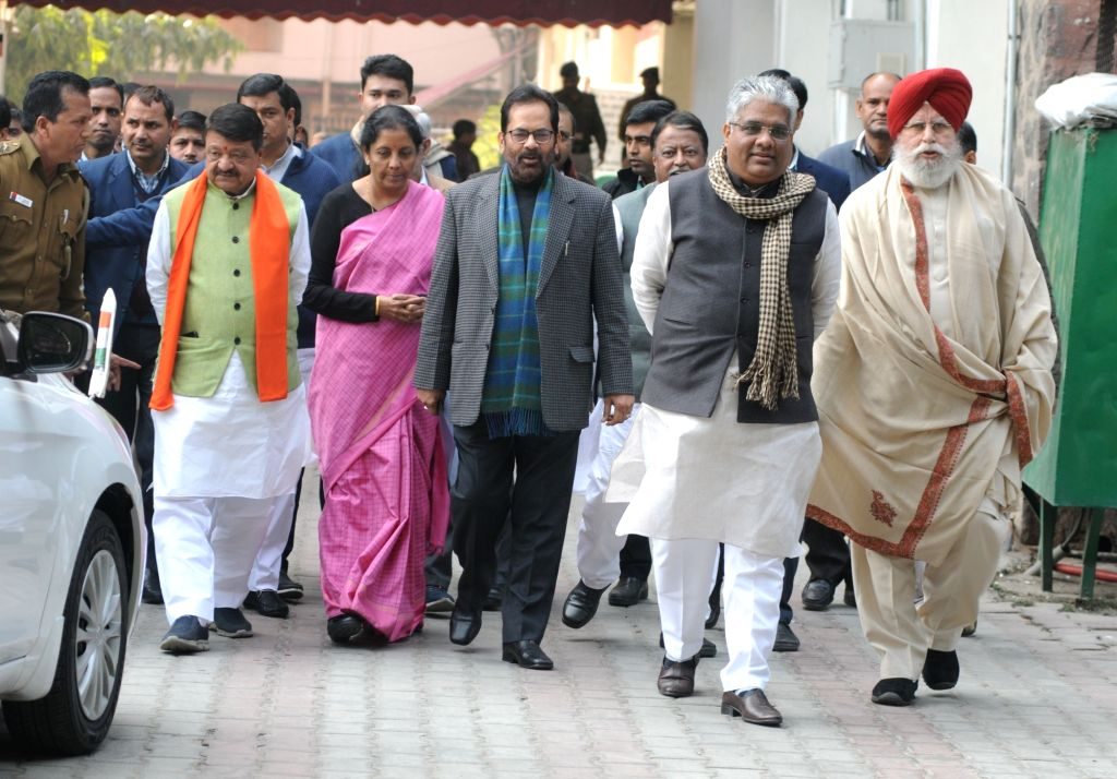 BJP delegation led by party leaders Kailash Vijayvargiya, Nirmala Sitharaman, Mukhtar Abbas Naqwi, Mukul Roy, Bhupender Yadav and S. S. Ahluwalia arrive after meeting the Chief Election ... - Mukul Roy and Bhupender Yadav