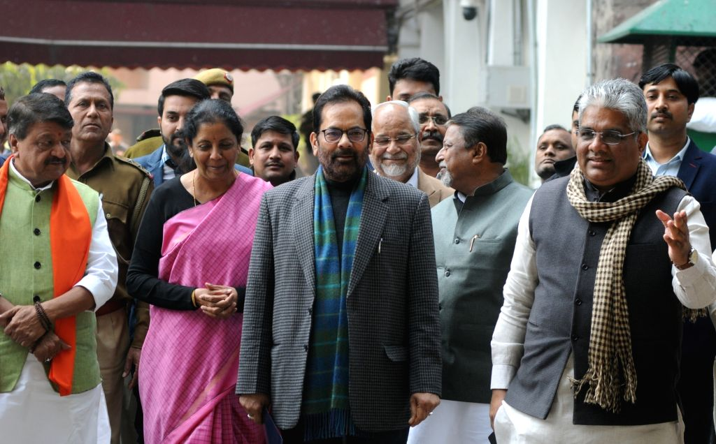 BJP delegation led by party leaders Kailash Vijayvargiya, Nirmala Sitharaman, Mukhtar Abbas Naqwi, Mukul Roy and Bhupender Yadav arrive after meeting the Chief Election Commissioner in New ... - Mukul Roy and Bhupender Yadav