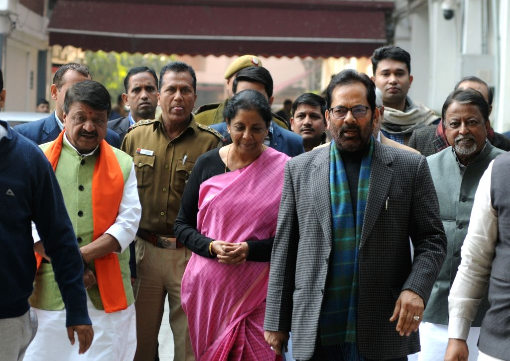 BJP delegation led by party leaders Kailash Vijayvargiya, Nirmala Sitharaman, Mukhtar Abbas Naqwi and Mukul Roy arrive after meeting the Chief Election Commissioner in New Delhi, on Feb 4, ... - Mukul Roy