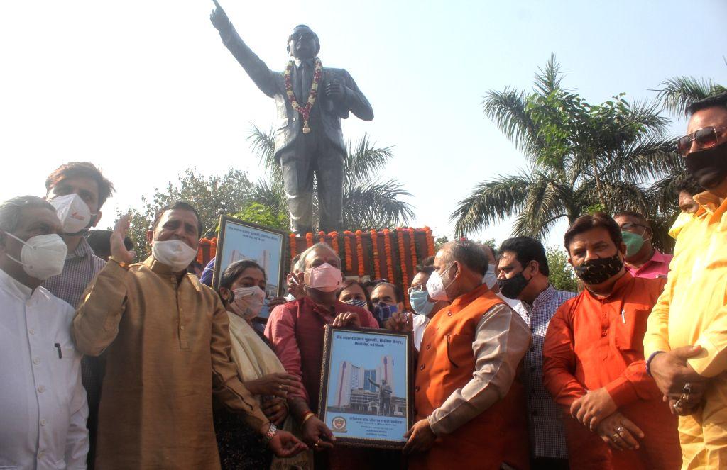 BJP Delhi president Adesh Gupta, North MCD Mayor Jai Prakash and others inaugurate the statue of Dr Bhimrao Ambedkar on occasion of Birth anniversary on tomorrow organized by North Delhi ... - Adesh Gupta